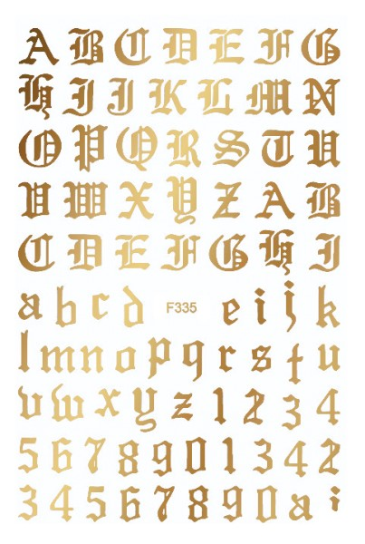 Sticker selbstklebend Buchstaben Letters Gold