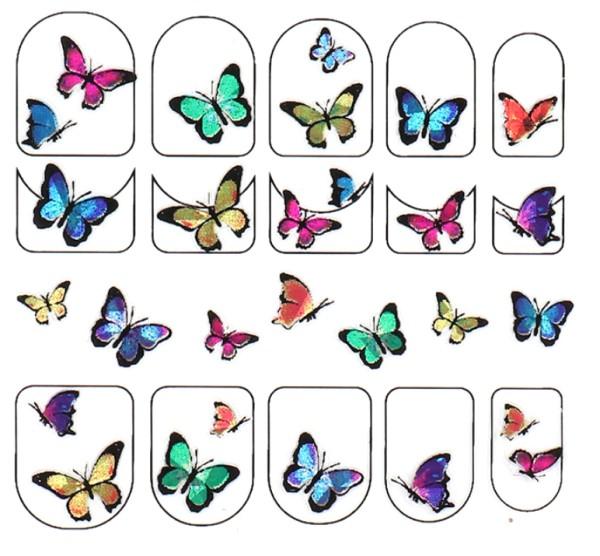 JUSTNAILS Schmetterling Butterfly Sticker selbstklebend - bunt klein